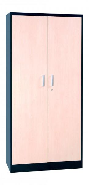 Flügeltürenschrank Stahl mit Holztüren, 5OH, 195x92x42cm, Farbe Silber/Ahorn, FLC/WD.19 100124