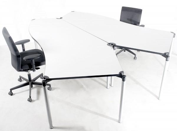 2er-Schreibtischkombination, ca. 260x220cm, altweiss, höhenverstellbar, gebrauchte Büromöbel