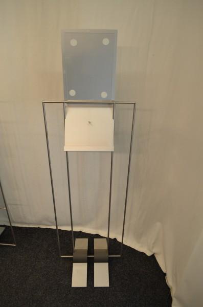 Prospektständer mit Informationsschild, 1x Prospektlage, gebrauchte Büromöbel
