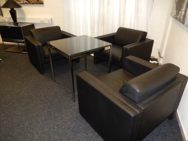 Sessel Leder schwarz Walter Knoll Design, gebrauchte Büromöbel 15004