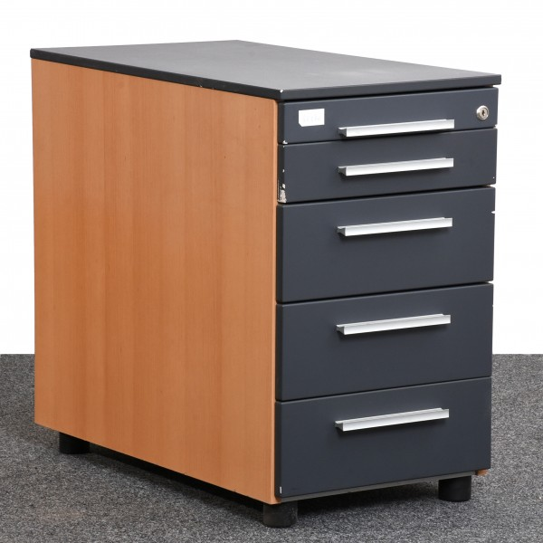 Welle Office Standcontainer Buche anthrazit Schubladen Griffe silber ...