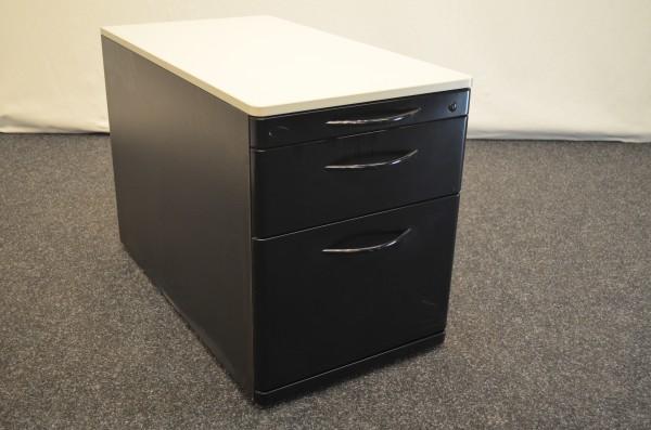 Rollcontainer 3 Schubladen, schwarz mit weißer Platte, gebrauchte Büromöbel