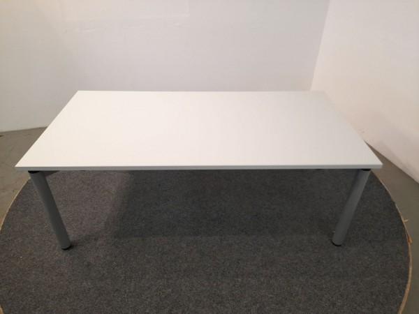 Schreibtisch, 160x80, lichtgrau Gestell silber, gebraucht
