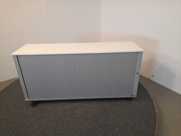 Sideboard, 2 OH, weiß/silbergrau, Querrollade, gebraucht