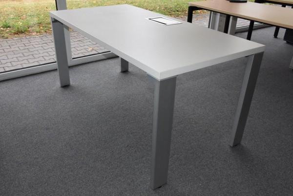 Schreibtisch, 80x160, weiß/grau, gebraucht