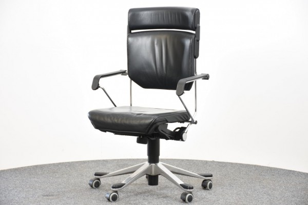 Drehstuhl, Lederbezug schwarz, gebraucht