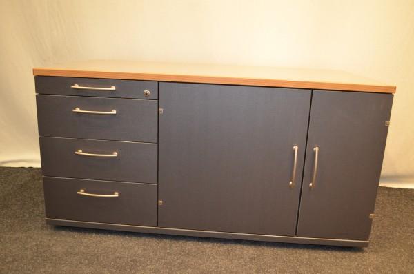 Sideboard, 61x120cm, Schwarz mit Bucheablageplatte, , 2x Schiebetür, gebrauchte Büromöbel