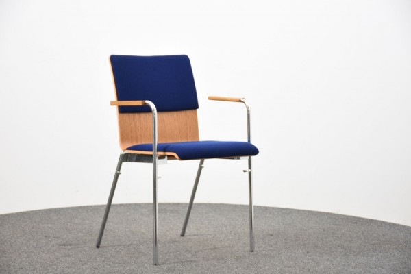 Stuhl, Holz, Textilpolster, Armlehne, gebraucht