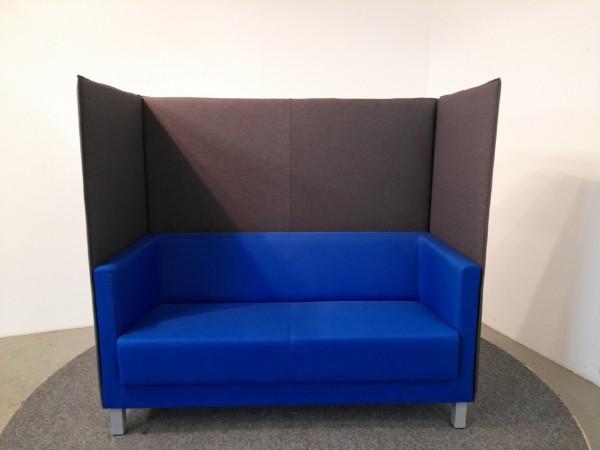 2er Couch (-Kabine) blau, Seite und Rückwand anthrazit, gebraucht