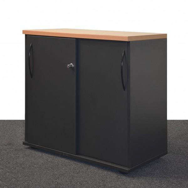Sideboard 2 OH in Anthrazit mit Buchenplatte, Schiebetüren gebraucht 36428