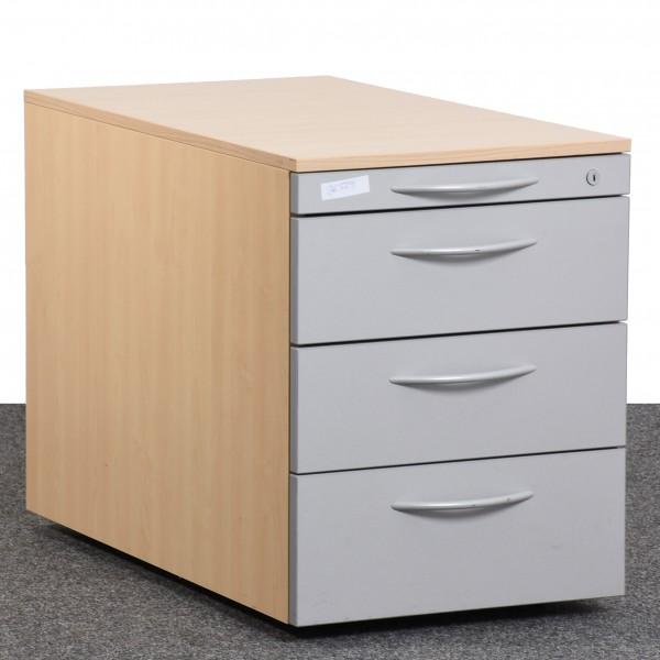 Rollcontainer, Buche/silber, 4 Schubladen, gebraucht