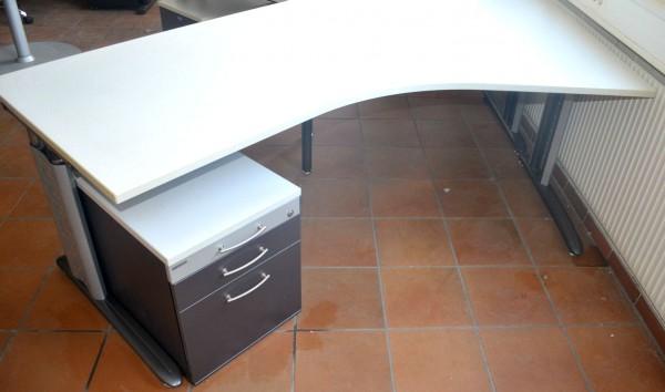 Schreibtisch, 202x80cm, lichtgrau, höhenverstellbar, Chromgestell, gebrauchte büromöbel