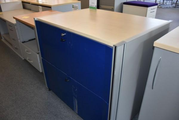 Hängeregisterschrank, blau/grau Abdeckplatte Ahorn, 2 Schubladen, gebraucht
