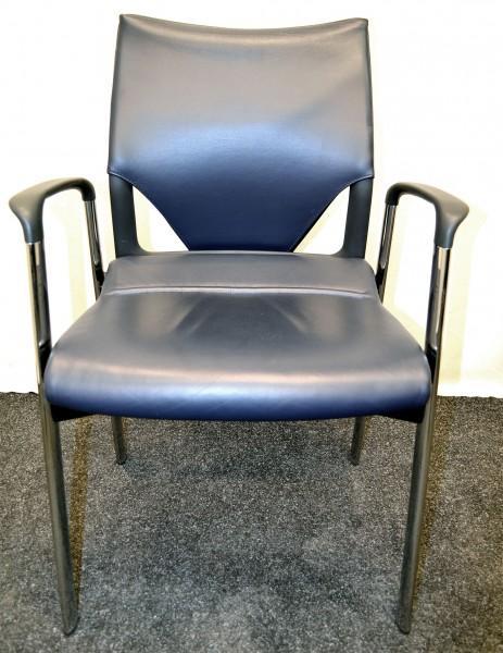 Besucher- und Besprechungsstuhl, Leder blau, Chromgestell, gebrauchte Büromöbel