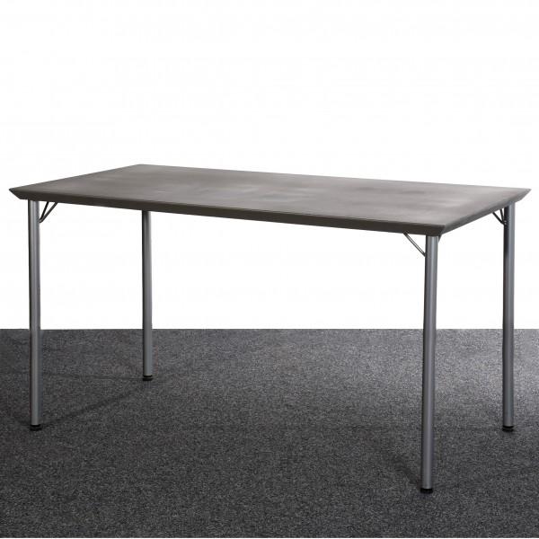 Tisch, 70 x 130 cm, silber, anthrazit, grau, gebraucht