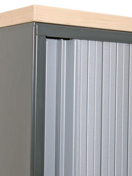 Aktenschrank 5OH, 185x80cm, Anthrazit/ Silbergrau, Metallkorpus, Ahornabdeckung, gebrauchte