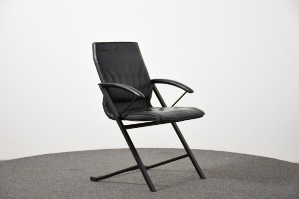 Drabert Besucherstuhl,Leder schwarz, 4 Fuß, gebraucht