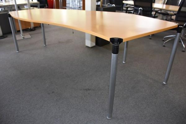Schreibtisch, ca. 260x110cm, geschwungen, Buche, höhenverstellbar, gebraucht