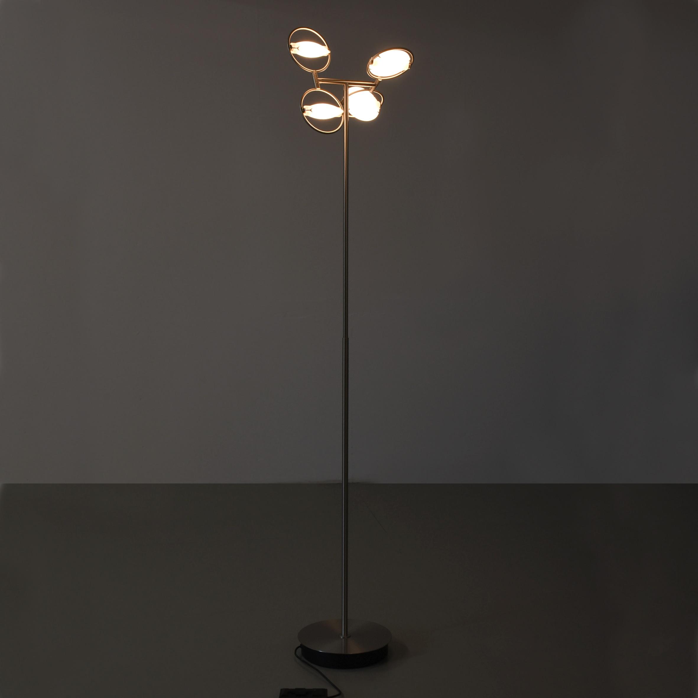 Stehlampe Dimmbar Chromfuss Geburstet 4 Ovale Leuchten Variabel