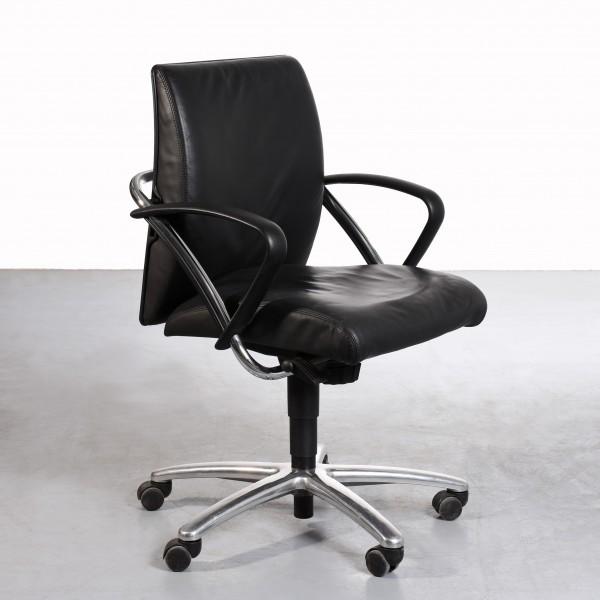 Girsberger Drehstuhl Leder schwarz gebraucht Sitzhöhe 46-60 cm, Sitzbreite 48, Sitztiefe 45, Gesamtbreite 60, Gesamthöhe 104 Büro cm