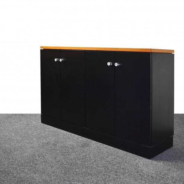 Sideboard 2OH, schwarz/Buche, Flügeltüren, gebraucht
