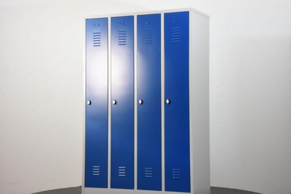 Garderobenschrank, 180x83x50cm, blau/lichtgrau, gebraucht