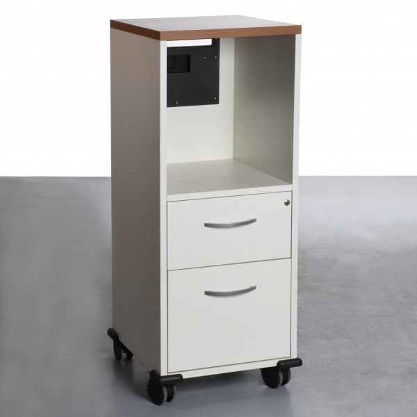 Rollcontainer Caddy hoch weiß mit dunkler Deckplatte gebraucht 44x42x108,5 cm