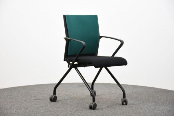 Steelcase Besucherstuhl,grün/ schwarz, 4 Fuß, gebraucht