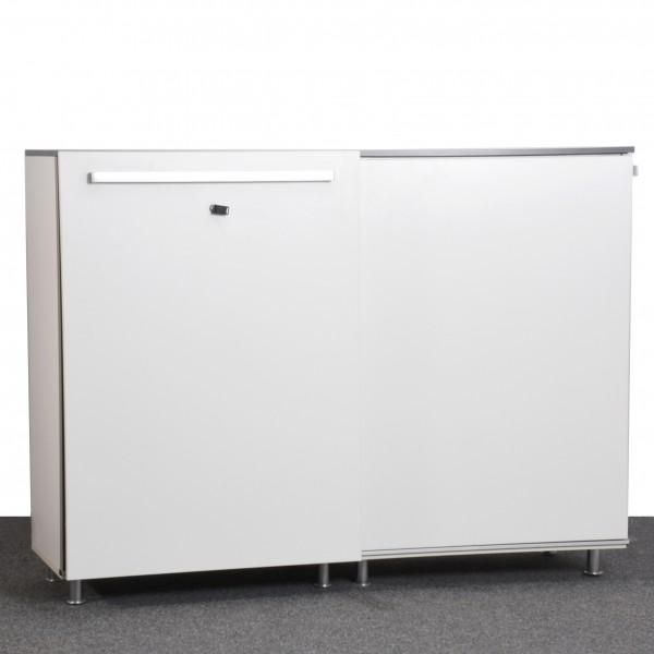Steelcase Sideboard 3oh Sockelfüße Silber Weiß Gebraucht Büro 36591