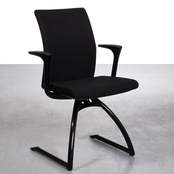 Hag Stuhl Freischwinge, schwarz Metall Stoffbezug gebraucht