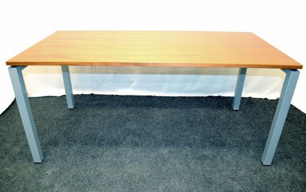 Schreibtisch Buche rötlich, 160x80, graues Gestell und Tischbein, gebrauchte Büromöbel