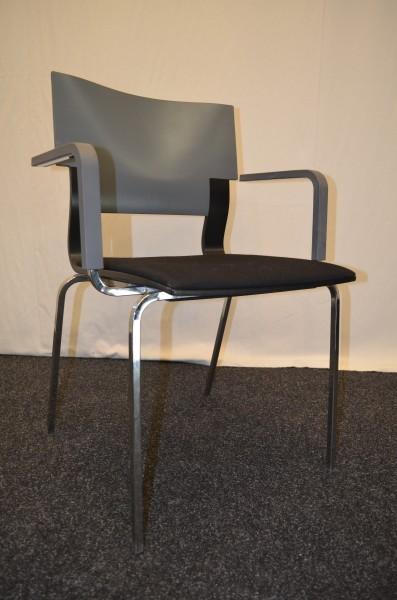 Büro- und Besucherstuhl, Design Züco, schwarz-grau, Chrom Gestel, gebrauchte Büromöbel