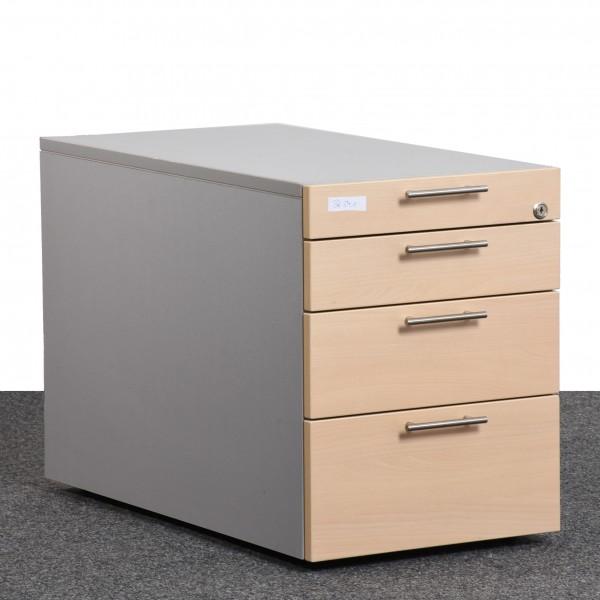 Standcontainer, Ahorn Front, Korpus silber, Griffe silber, 4 Schubladen, gebraucht