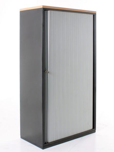 Aktenschrank, 4OH, B 80xH 151 x T 46 cm, Schwarz, Bucheabdeckung, silberne Lamellenschiebetür