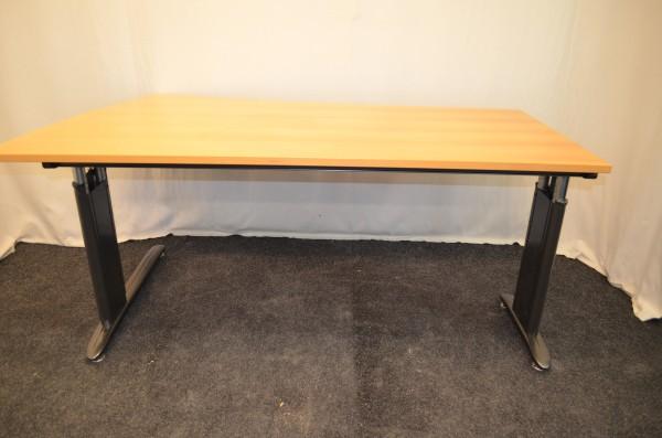 Schreibtisch, Buche, 180x73-80cm, höhenverstellbar, Chromfüße, gebrauchte Büromöbel