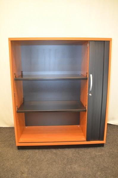 Sideboard 3OH, Buche Corpus, schwarze Lamellenschiebetür, versch, gebrauchte Büromöbel