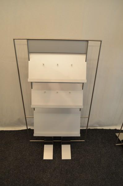 Prospektständer, 3 Lagen, silbernes Gestell, gebrauchte Büromöbel