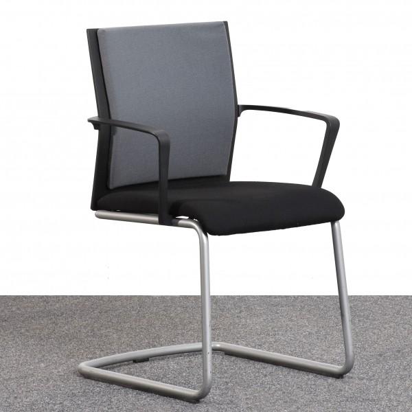 Steelcase Freischwinger Stoff schwarz grau Gestell silber Armlehne  Büro 36565