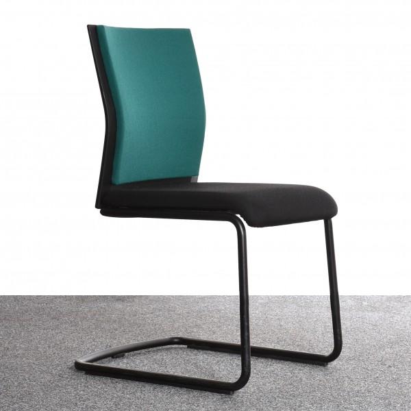 Steelcase Stuhl, Freischwinger, schwarz, grün, gebraucht