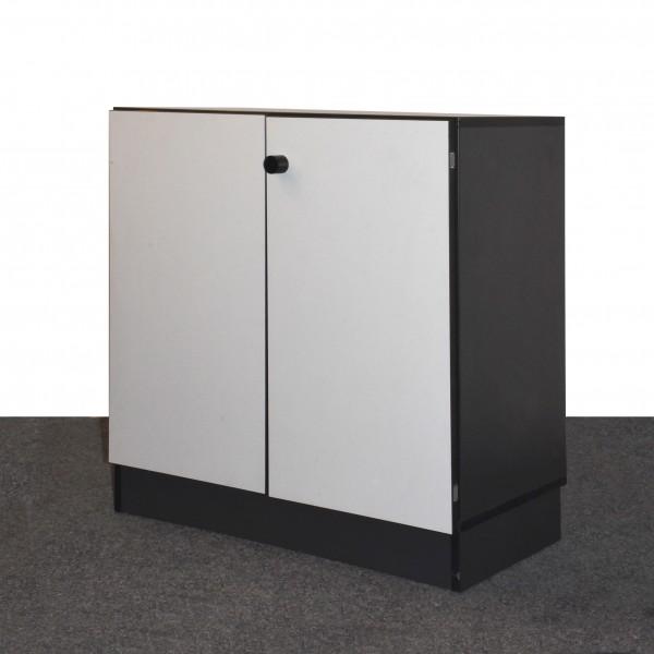 Sideboard 2OH, schwarz/weiß, Flügeltüren, gebraucht