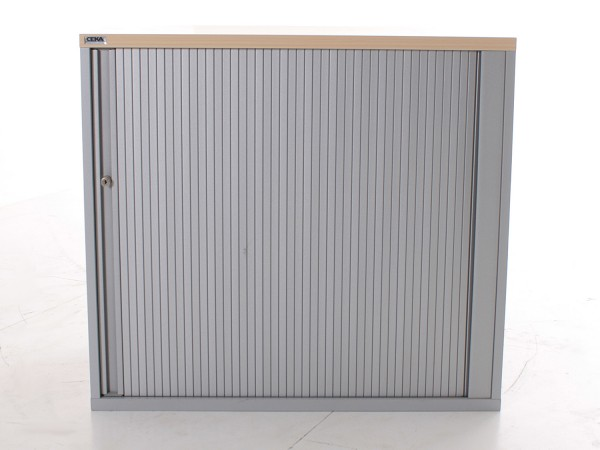 Sideboard 2OH, 73x80cm, Silber, Bucheabdeckung, Rolladenschiebetür, gebrauchte Büromöbel