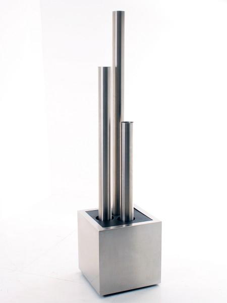 Designbrunnen mit 3 Edelstahlsäulen V4A, Gesamthöhe 207cm, Metallsockel, gebrauchte Büromöbel