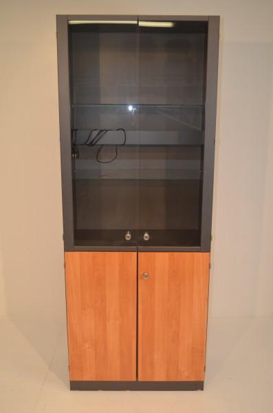 Aktenschrank mit Glasvitrine 5OH, 210x80cm, Vitrine mit Beleuchtung, 2x Glasflügeltür, 2x Holzflügel