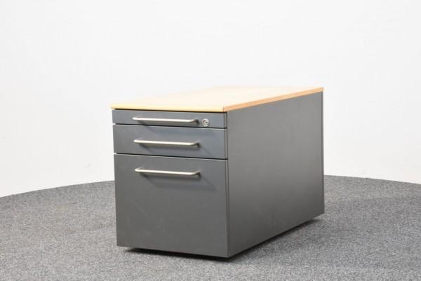 Rollcontainer, Buche/grau, Schubladen, Hängeregister, gebraucht
