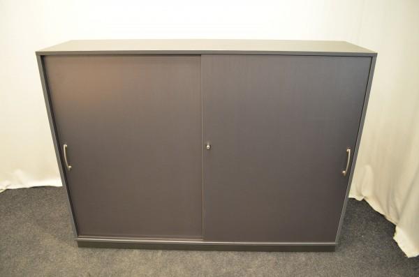 Sideboard 3OH, grau, 119x158, 2x Schiebetür, verschließbar, silb, gebrauchte Büromöbel