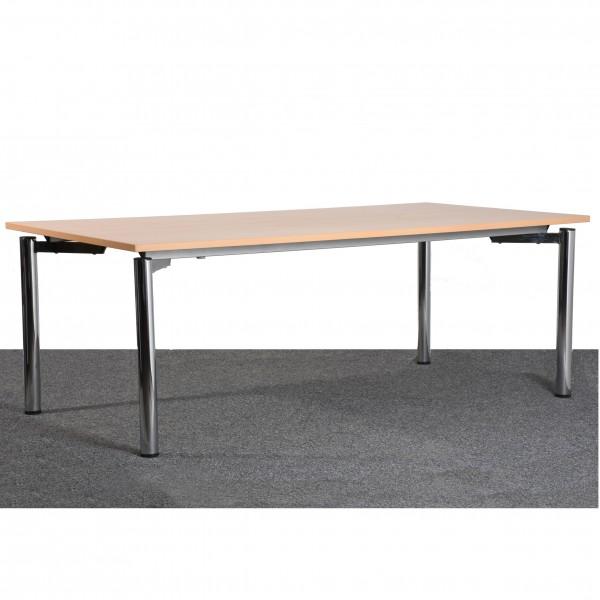 Tisch, Schreibtisch, Konferenz, 100x200 cm, Buche/Chrom, gebraucht