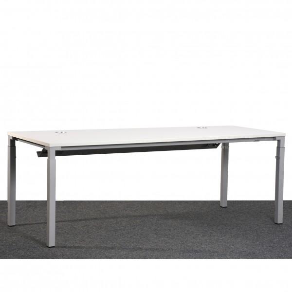Steelcase Schreibtisch weiß silber höhenverstellbar 80x200 cm gebraucht Büro 364950