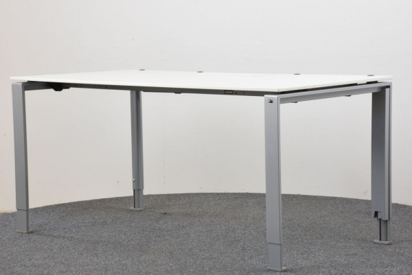 K&N Schreibtisch, 80x160, höhenverstellbar, weiß, gebraucht