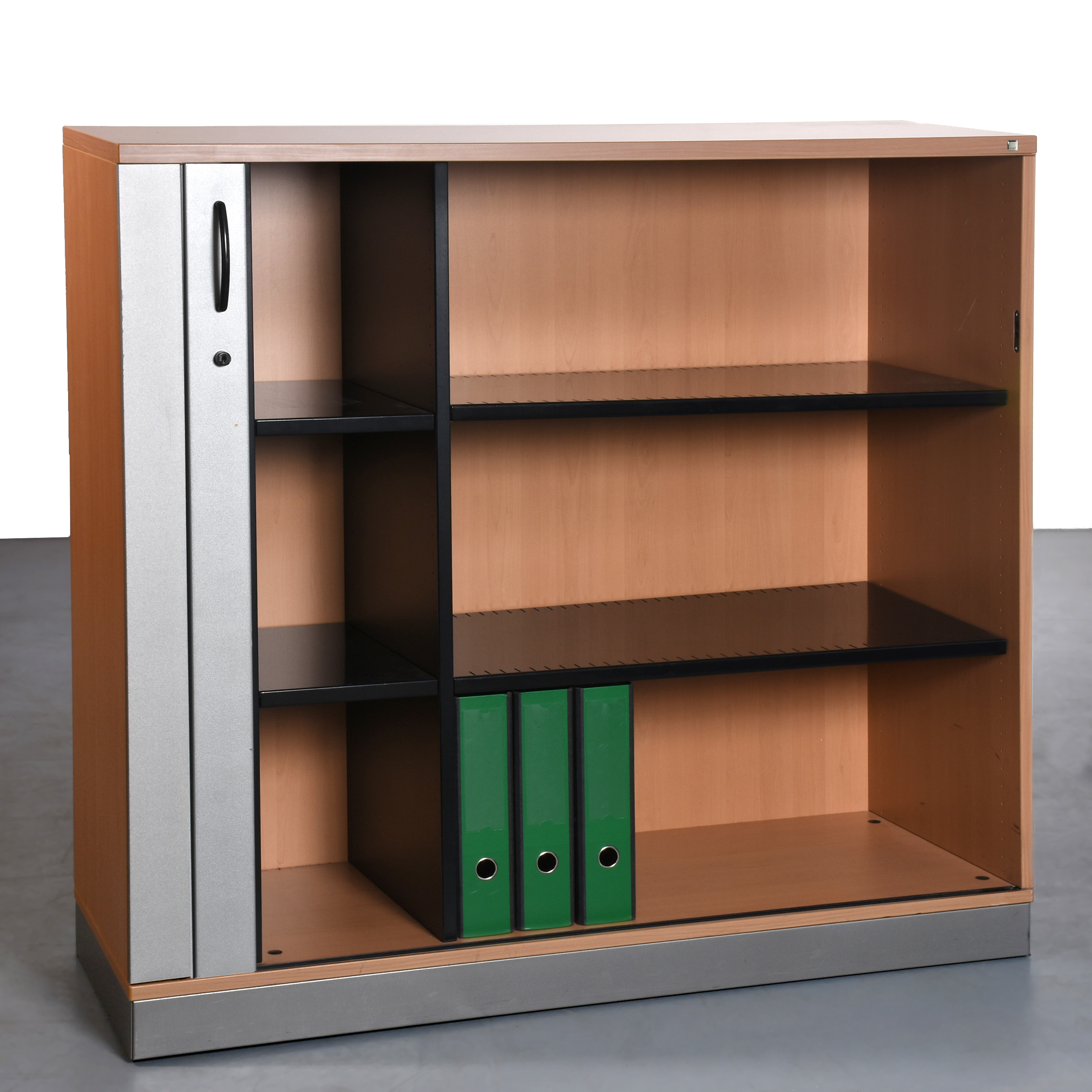 sch rf b rom bel 3oh korpus buche querrollade silber gebraucht gesamt h he 115 x breite 120 x. Black Bedroom Furniture Sets. Home Design Ideas
