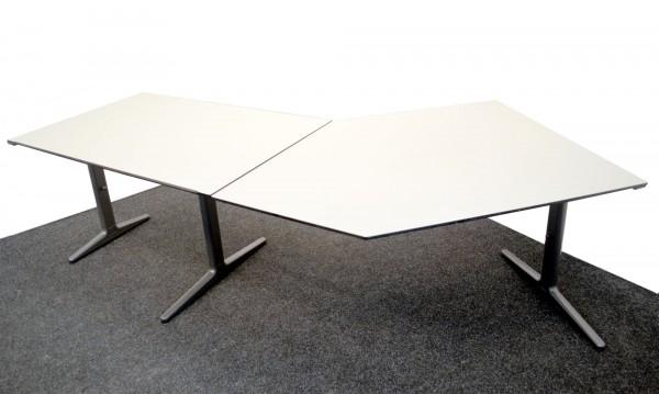 Schreibtisch 246x80 Winkelfunktion rechts oder links höhenverstellbar gebrauchte Büromöbel 22029